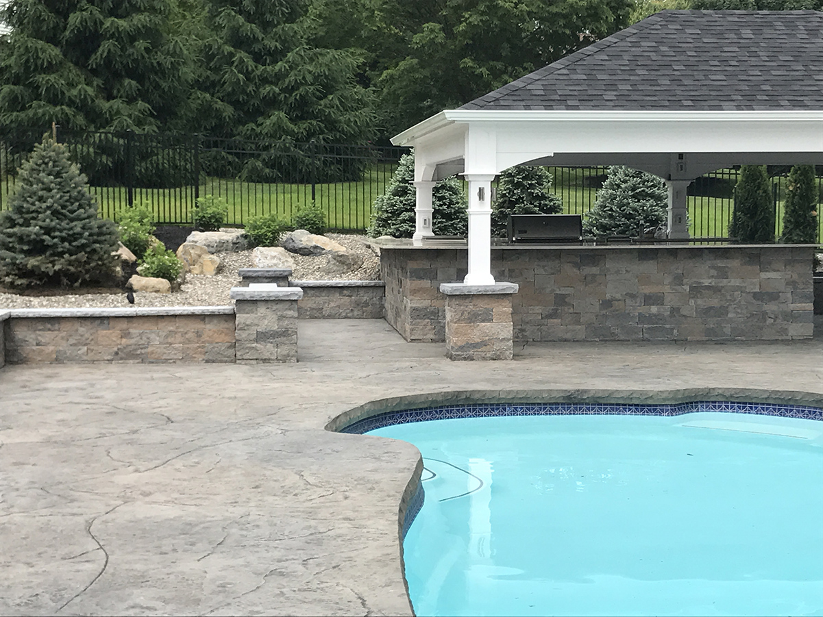 Pool With Outdoor Cooking Area